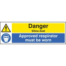 Danger Silica Dust/Approved Respirator Muat be Worn - 300x100mm - RPVC 14530G