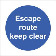 Escape Route Keep Clear - 200x200mm - SAV 21623F