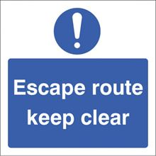 Escape Route Keep Clear - 200x200mm - SAV 21649F