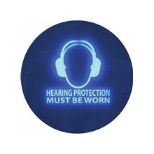 Hearing Protection Must be Worn-Noise Activated Sign-300Diameter x50mm 58139