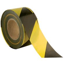 Black/Yellow Striped Barrier Tape - 75mm x 500m BC1457