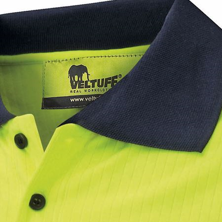'Paddington' Ribbed-Knit Hi-Vis Polo Shirt VC20 HV3526
