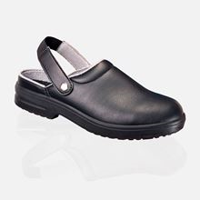 Black,NON LEATHER washable,light,antislip Safety Clog anti-bacterial SB/SRC SF6984