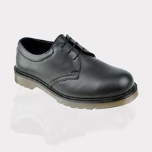 Air-Cushioned Black Smooth Leather Safety Shoe SB SRA SF7679