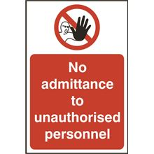 No admittance to unauthorised personnel - 200x300mm - SAV SK11616