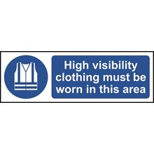 Hi Vis Clothing MustBeWorn in this area - 300x100mm- RPVC SK11689