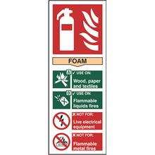 Foam Fire Extinguisher Sign - 82x202mm - SAV SK12306