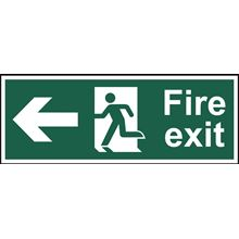 Fire Exit - Arrow Left - 300x100mm - SAV SK12576