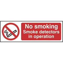 No Smoking - Smoke detectors in Operation - 300x100mm - SAV SK13316