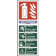 Dry Powder Fire Extinguisher Sign - 75x200mm - PVC SK1373