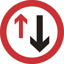 'Give Way To Oncoming Traffic' - without channel - 450mm Diameter - Dibond SK14028-1