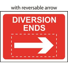 Diversion Ends + reversible Arrow - Classic - Roll up sign 1050x750mm SK14141