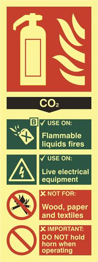 CO2 Fire Extinguisher Sign - 75x200mm - Photoluminescent SK1592