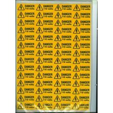 Danger -  110 Volts  - 80 per Sheet - 49x20mm - SAV SK3000