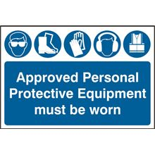 Approved Personal Protective Equipment Must Be Worn Sign- 600x400mm - PVC SK4020