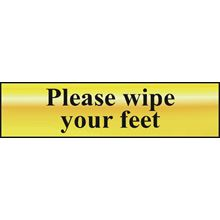 Please Wipe Your Feet - 200x50mm - Gold Effect - PVC SK6022