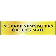 No Free Newspapers Or Junk Mail - 200x50mm - Gold Effect - PVC SK6023