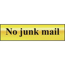 No junk mail - 200x50mm - Gold Effect - PVC SK6059