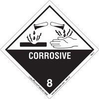 Corrosive 8 Label - Hazard Diamond - 300x300mm - SAV SN1308