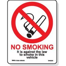No Smoking Against The Law Vehicle Sign - 85x110mm-D/S SN8285