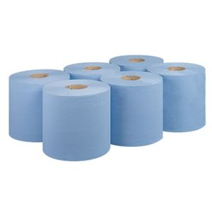 6 Pack 2 ply Recycled Blue Centre Feed CV19M WI2020